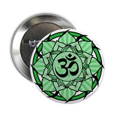 "Aum Lotus Mandala (Green) 2.25"" Button"