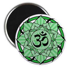"""Aum Lotus Mandala (Green) 2.25"""" Magnet (10 pack)"""