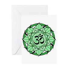 Aum Lotus Mandala (Green) Greeting Card
