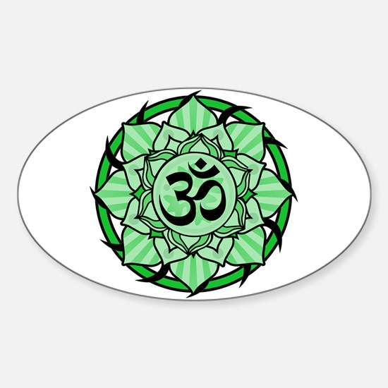 Aum Lotus Mandala (Green) Sticker (Oval)