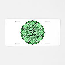 Aum Lotus Mandala (Green) Aluminum License Plate