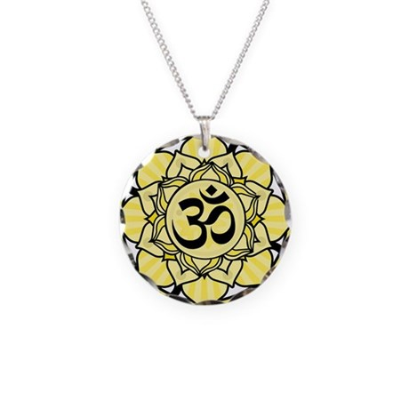 Aum Lotus Mandala (Yellow) Necklace Circle Charm