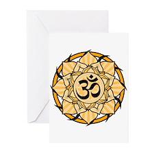 Aum Lotus Mandala (Orange) Greeting Cards (Pk of 2