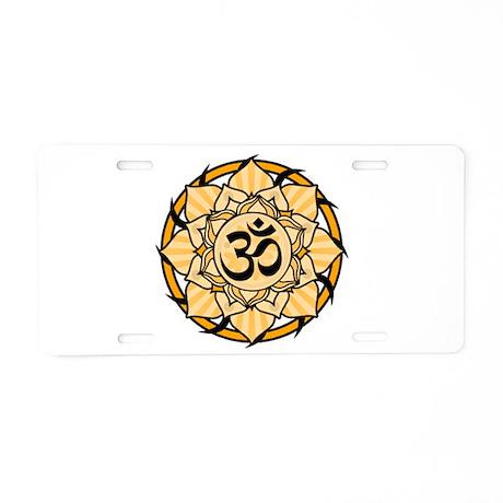 Aum Lotus Mandala (Orange) Aluminum License Plate