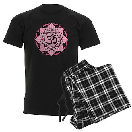 Aum Lotus Mandala (Pink) Men's Dark Pajamas