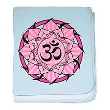 Aum Lotus Mandala (Pink) baby blanket