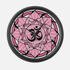 Aum Lotus Mandala (Pink) Large Wall Clock