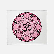 Aum Lotus Mandala (Pink) Throw Blanket