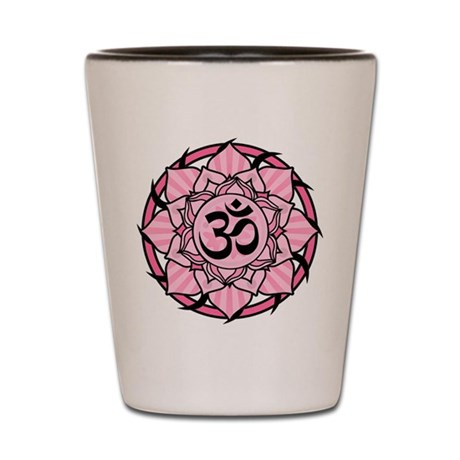 Aum Lotus Mandala (Pink) Shot Glass
