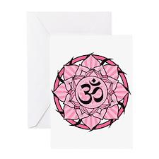 Aum Lotus Mandala (Pink) Greeting Card
