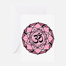 Aum Lotus Mandala (Pink) Greeting Card