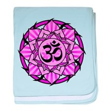 Aum Lotus Mandala (Purple) baby blanket