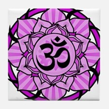 Aum Lotus Mandala (Purple) Tile Coaster
