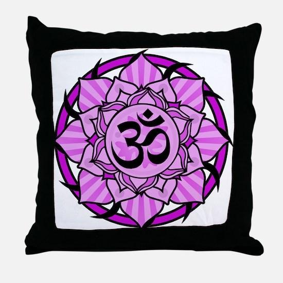 Aum Lotus Mandala (Purple) Throw Pillow