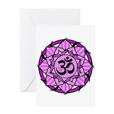 Aum Lotus Mandala (Purple) Greeting Card
