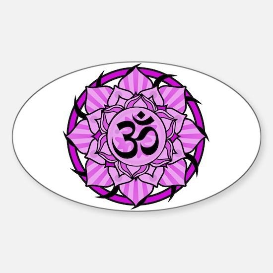 Aum Lotus Mandala (Purple) Sticker (Oval)