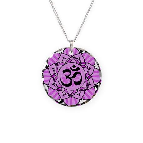 Aum Lotus Mandala (Purple) Necklace Circle Charm