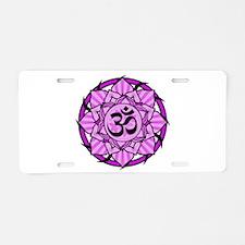 Aum Lotus Mandala (Purple) Aluminum License Plate