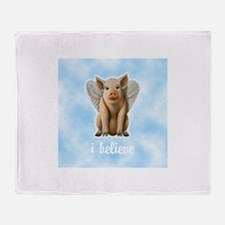 I Believe Flying Pig Throw Blanket