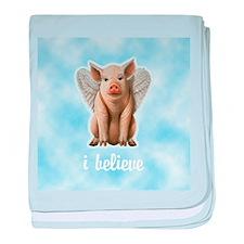 I Believe Flying Pig baby blanket