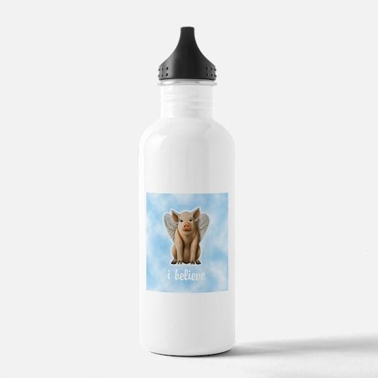 I Believe Flying Pig Water Bottle