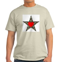 Camo Star with Red Heart on Ash Grey T-Shirt