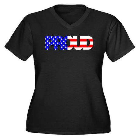 American Women's Plus Size V-Neck Dark T-Shirt
