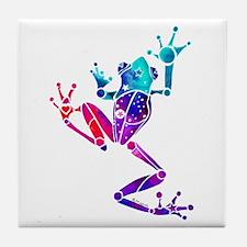 Crazy Purple Tree Frog Tile Coaster