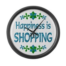 Happiness Shopping Large Wall Clock