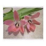 Pink Tulips In Bloom Throw Blanket