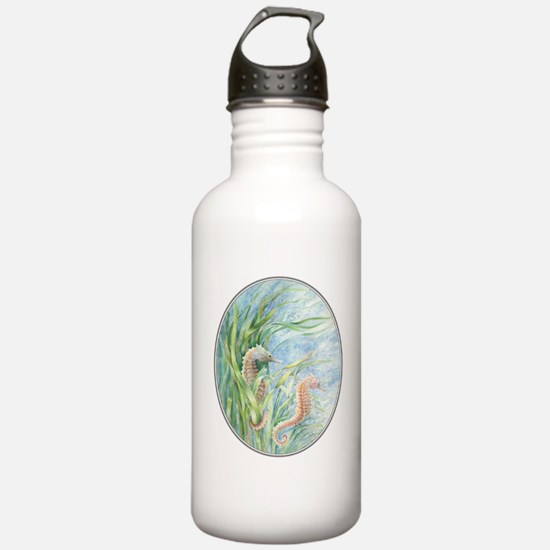 2 seahorses floating along Water Bottle