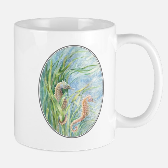 2 seahorses floating along Mug