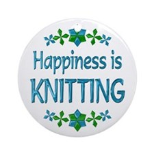 Happiness Knitting Ornament (Round)