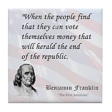 Franklin on...Money Tile Coaster