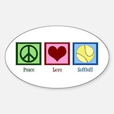 Peace Love Softball Sticker (Oval)