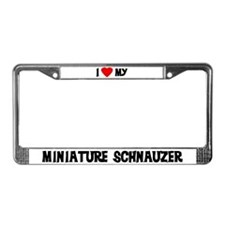 I Love My Miniature Schnauzer License Plate Frame