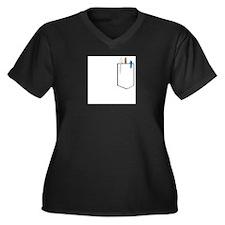 Cute Pocket images Women's Plus Size V-Neck Dark T-Shirt