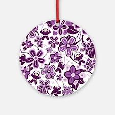 Purple Ninja Flowers Ornament (Round)