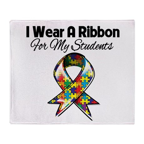 Autism Ribbon For My Students Throw Blanket
