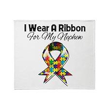 Autism Ribbon For My Nephew Throw Blanket
