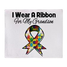 Autism Ribbon For My Grandson Throw Blanket