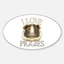 I Love Piggies Sticker (Oval)