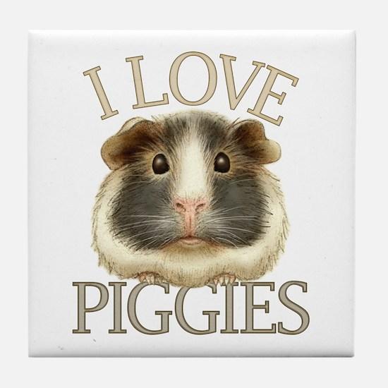I Love Piggies Tile Coaster