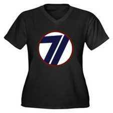 Cute 71st infantry division red circle Women's Plus Size V-Neck Dark T-Shirt