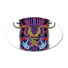 Savage Skull Mutant Style 38.5 x 24.5 Oval Wall Pe