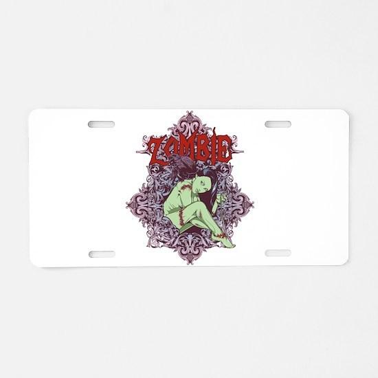 Zombie Girl Aluminum License Plate