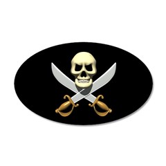 Pirate Skull and Swords 38.5 x 24.5 Oval Wall Peel