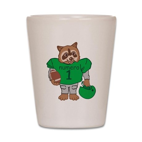 Raccoon Football Player Shot Glass