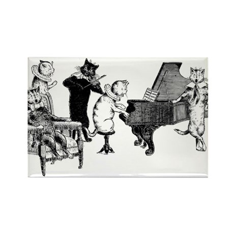 Cat Music Rectangle Magnet