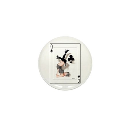 Queen of Clubs Pin-up Mini Button (100 pack)